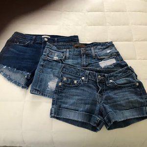 Denim Shorts Bundle Joes, True Religion, L'Agence